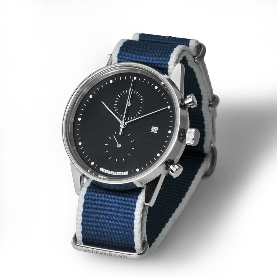 Hypergrand Watch, Chrono SilverBlack - Straight Jacquard Blue, Side View