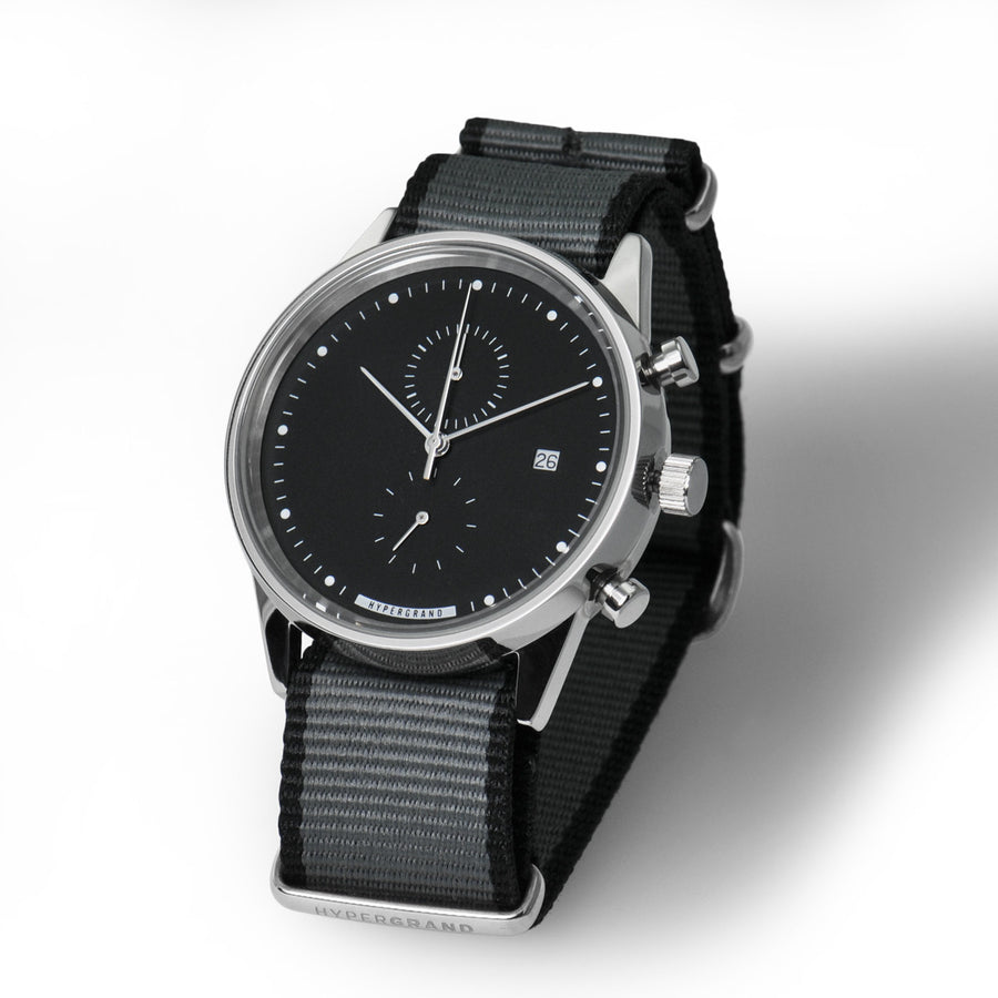 Hypergrand Watch, Chrono SilverBlack - Straight Jacquard Grey, Side View