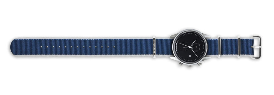 Hypergrand Watch, Chrono SilverBlack - Straight Jacquard Blue, Top View