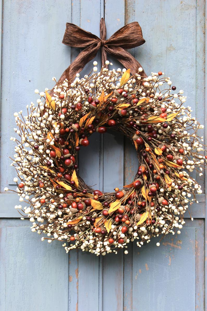 Fall Acorn Wreath - Acorn and Berry Wreath - Autumn Wreath - Fall Home Decor