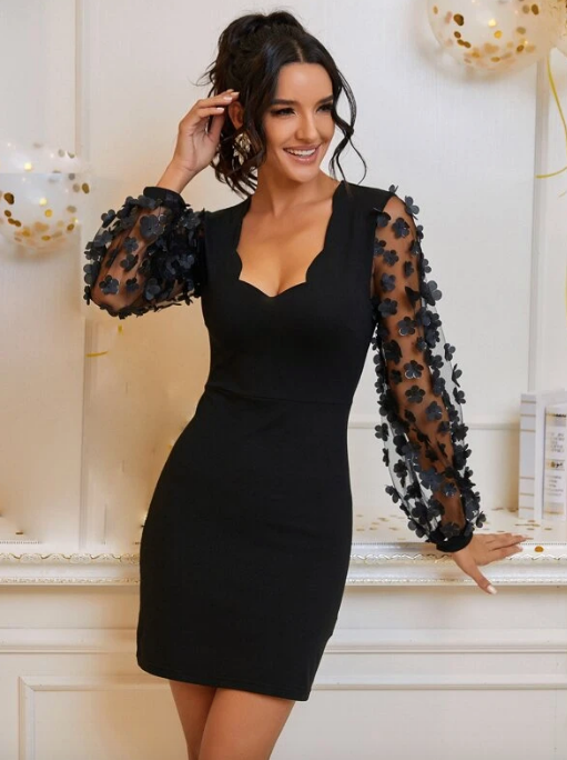 Appliques Mesh Sleeve Scallop Bodycon Dress - Christmas Dress - Fancy Dress - Party Dress