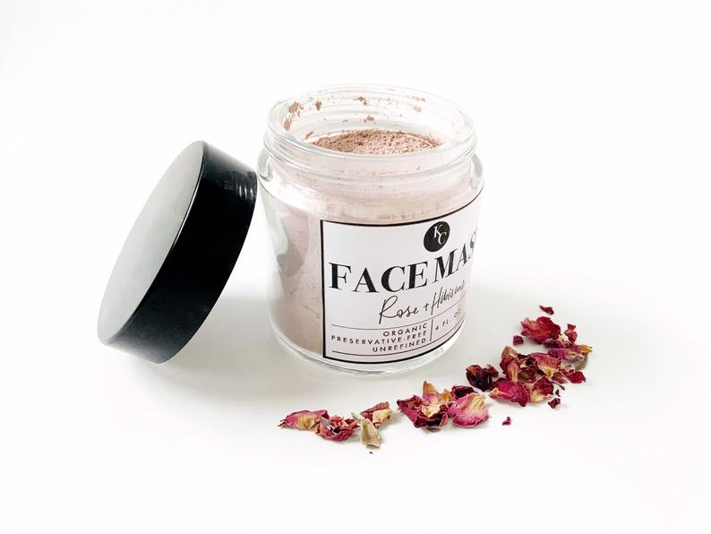 Rose Hibiscus Face Mask, Powder Clay Mask, All Natural Refreshing Clay Mask, Self Care Gift, Skin Detox