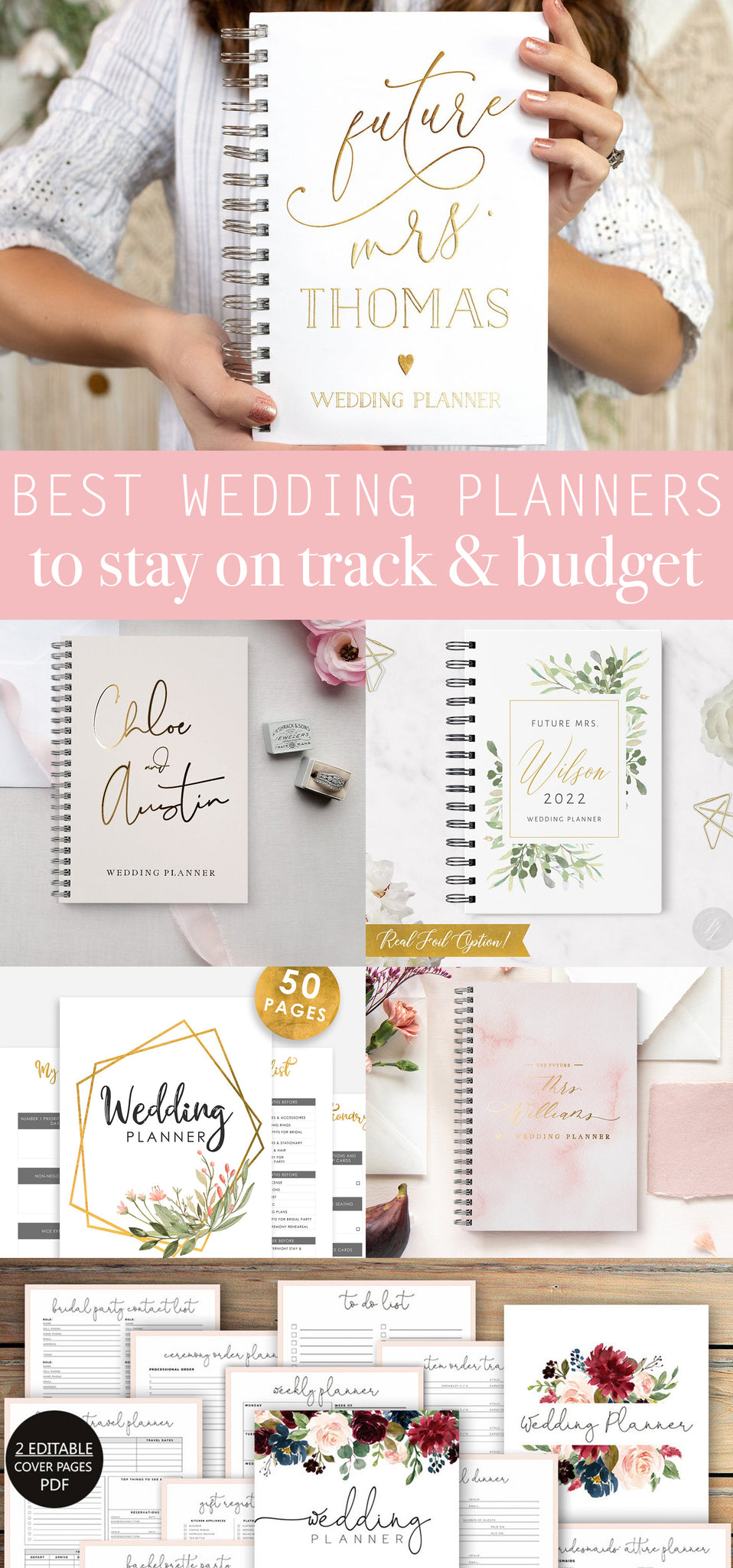 Best Wedding Planners to Stay on Track and Budget - Custom Wedding Planner - Personalized Wedding Planner Book - Pretty Collected
