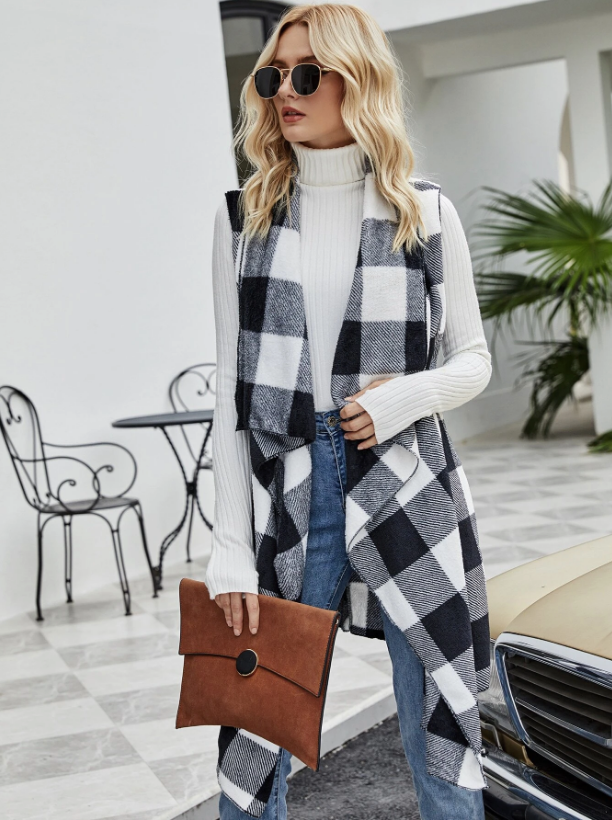 Buffalo Plaid Waterfall Collar Flannel Vest Coat - Fall Outfit - Friendsgiving Outfit