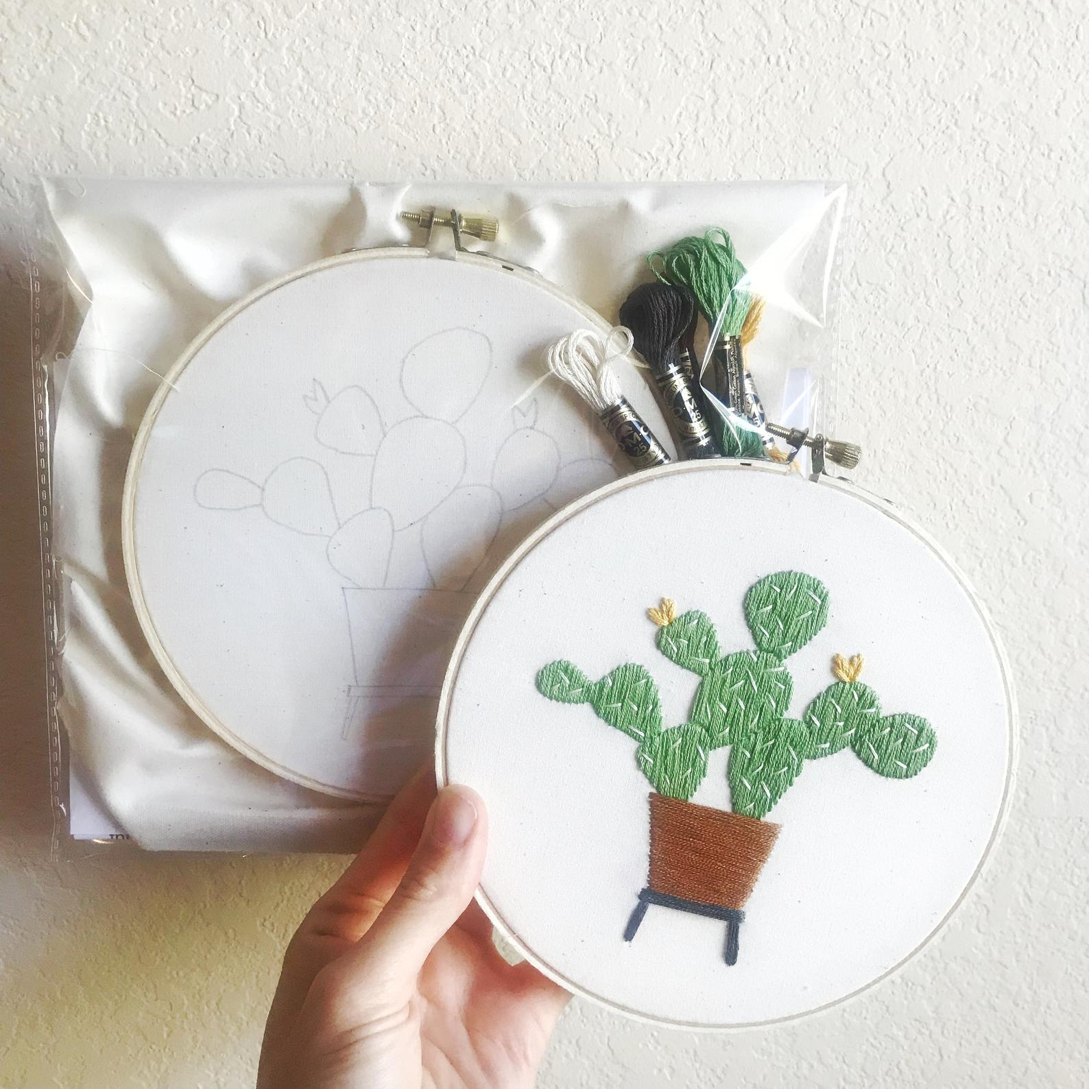 Potted Cactus Embroidery Kit - DIY Embroidery Craft