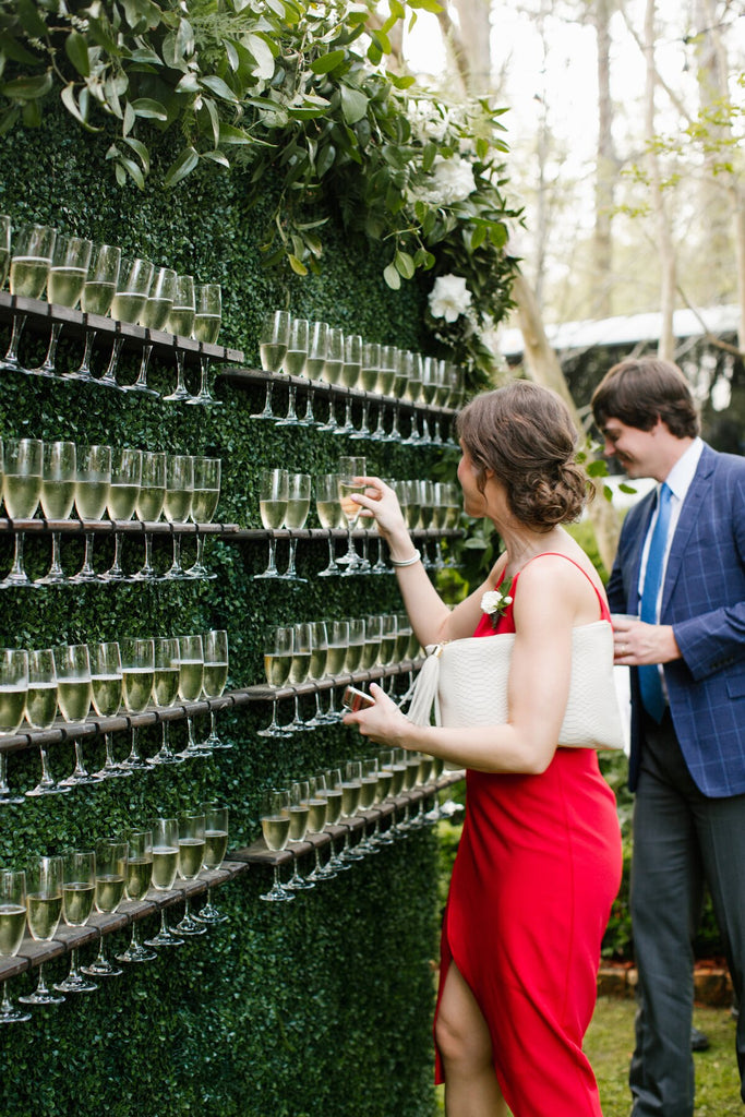 Champagne Wall - Outdoor Wedding Reception Ideas - Pretty Collected