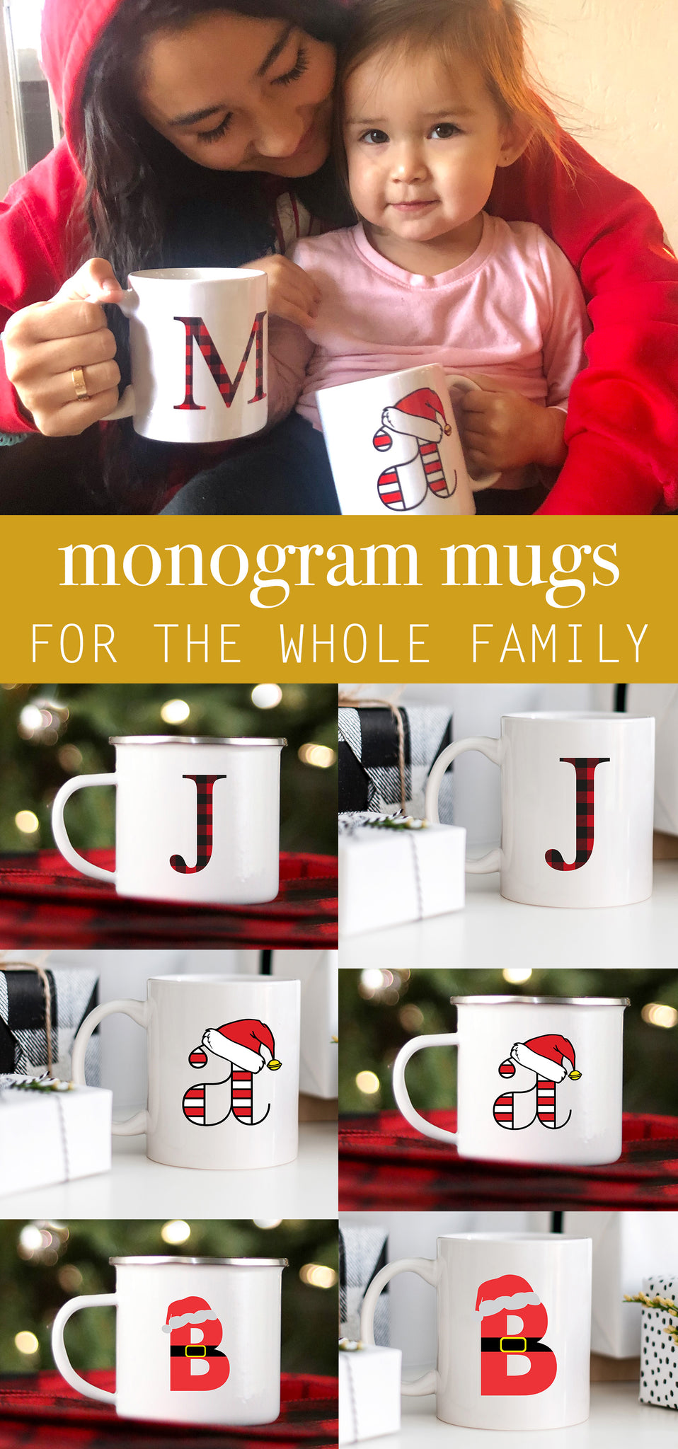 Monogram Mugs for Christmas - Christmas Mugs - Family Hot Cocoa Mugs - Pretty Collected