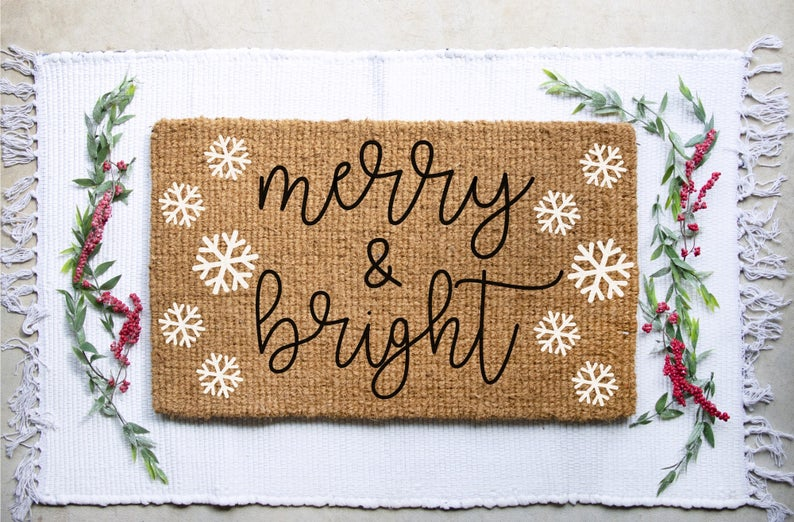 Christmas Welcome Mat, Christmas Doormat, Merry and Bright Doormat, Christmas Decor, Snowflake Doormat, Snowflake Decor, Welcome Mat, Mat