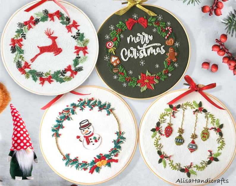 Christmas Wreath Embroidery Full Kit for Beginner, DIY craft kit adult, Hand Embroidery Christmas Ornaments,DIY Hoop Art-8 Inches