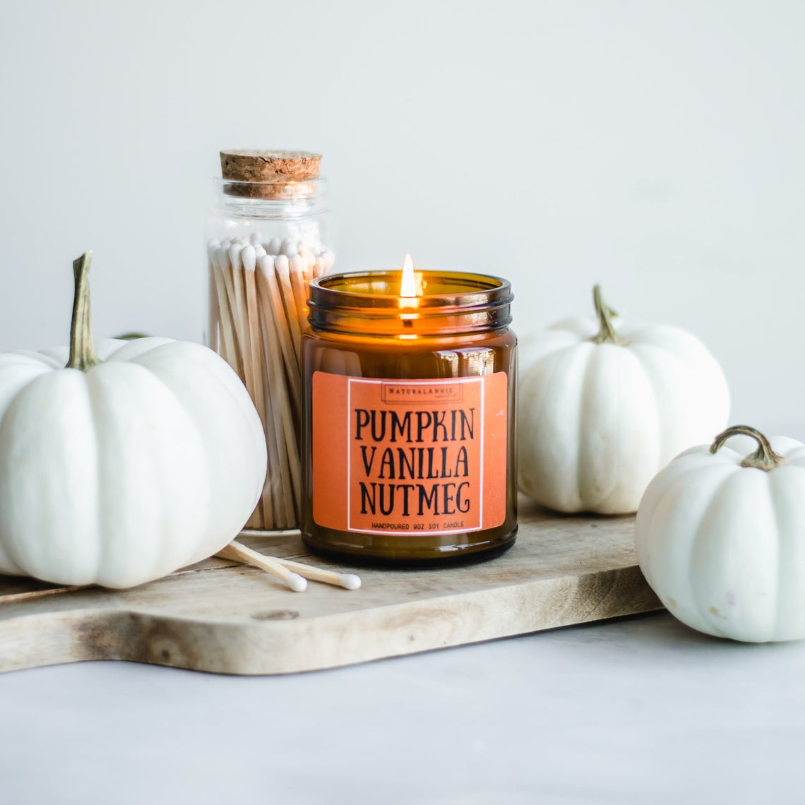 Cozy Fall PUMPKIN VANILLA NUTMEG - Hand Poured Scented Soy Candle - Halloween Home Decor Gift