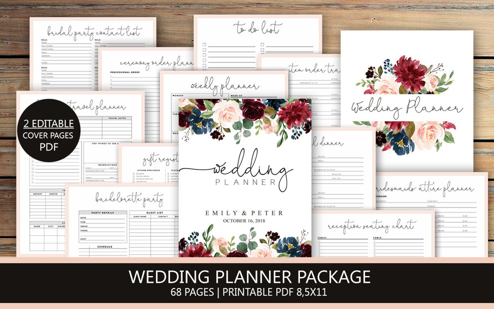 Rustic Wedding Planner - Customizable Wedding Planner - Printable Wedding Planner