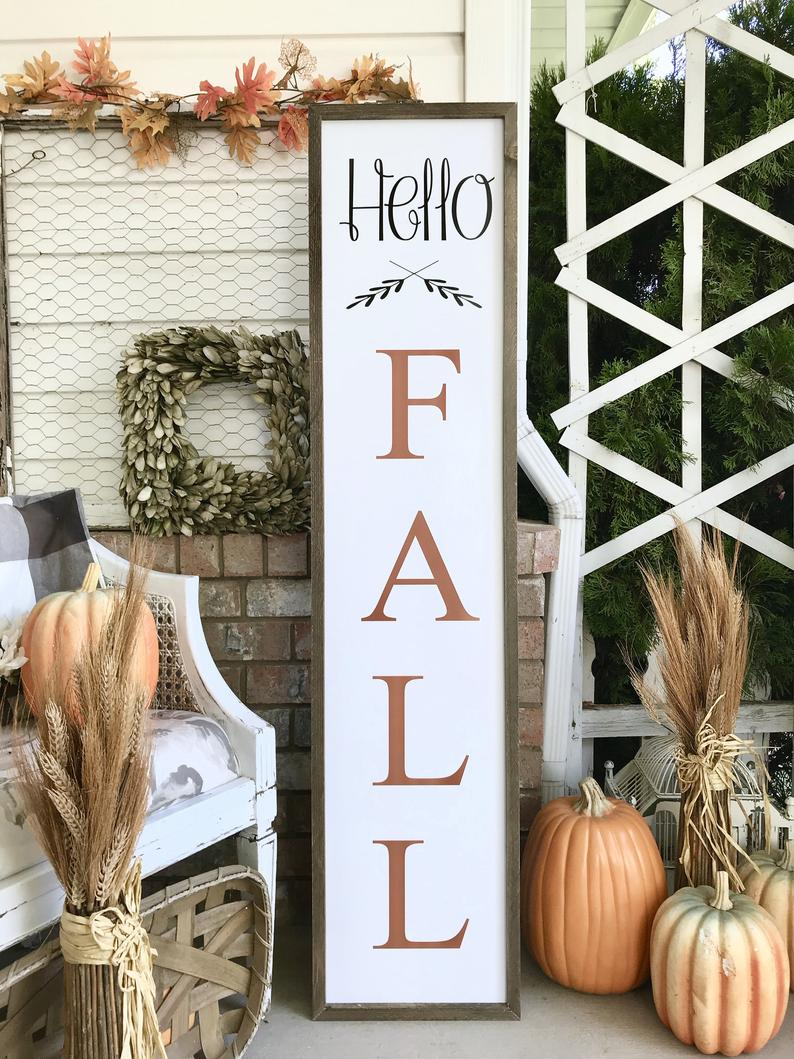 Cute Hello Fall, Halloween, Fall, Thanksgiving Wood Porch sign and decor