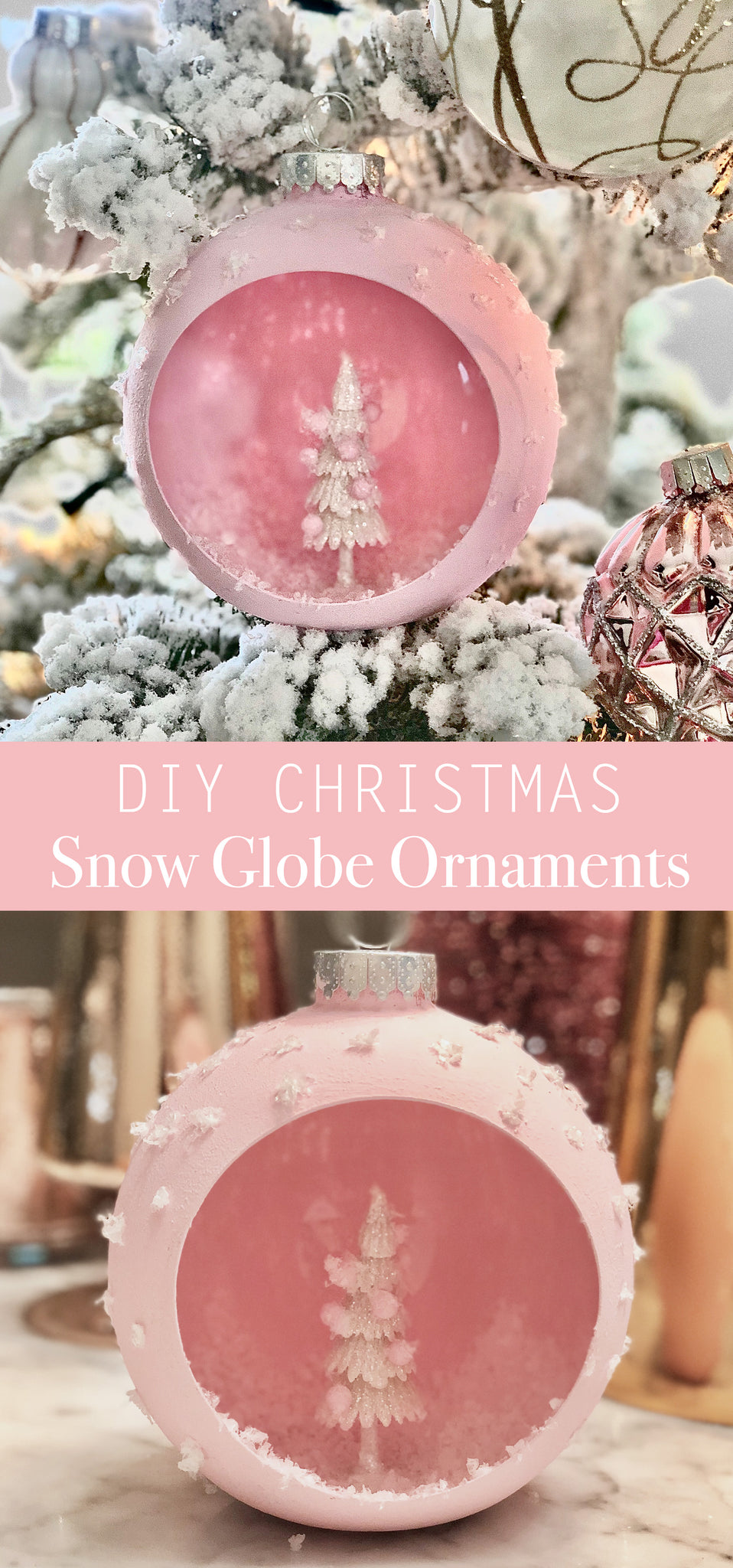 DIY Christmas Snow Globe Ornaments - Holiday Crafts - Pretty Collected