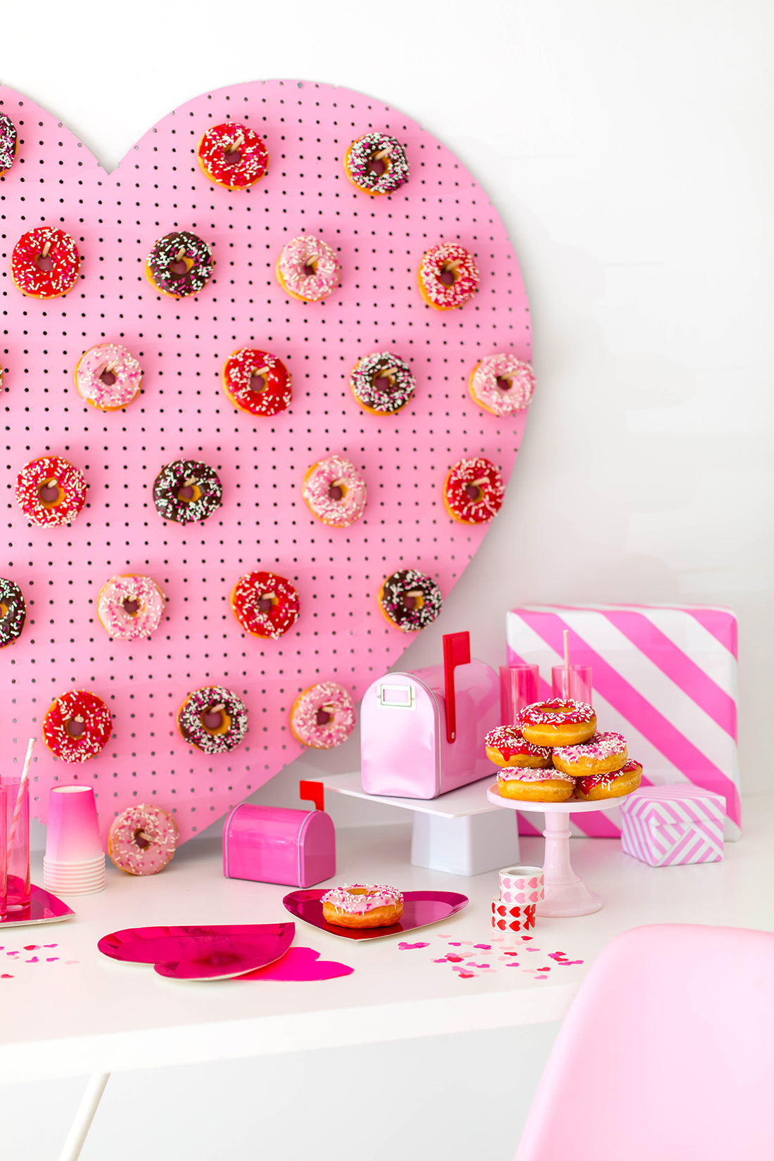 DIY Heart Donut Wall Pegboard for Valentine's Day