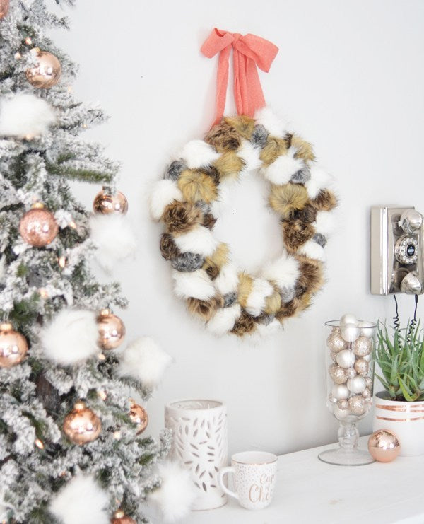 DIY Faux Fur Pom Pom Wreath Craft