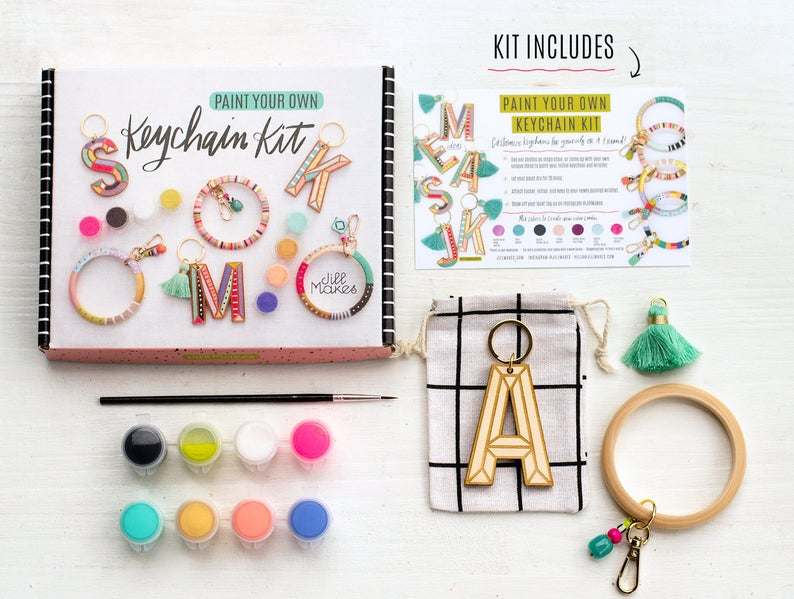 DIY Keychain Painting Kit, Craft kit, DIY kit, jewelry kit, bachelorette party craft, diy jewelry, gift for her, party kit, Keychain Kit