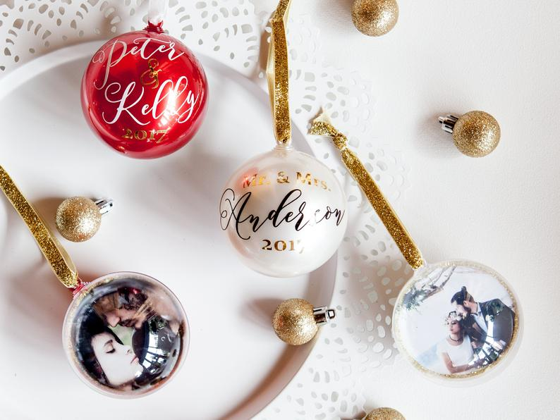 DIY Personalized photo Christmas ornaments, Personalized Christmas gifts, Photo baubles, Modern Christmas ornaments, Minimalist Christmas