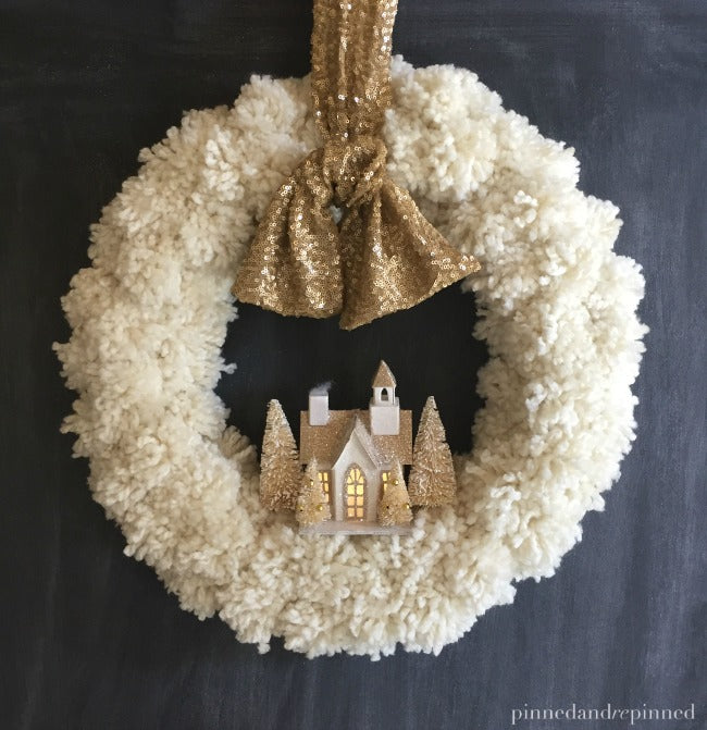 DIY Pom Pom Christmas Wreath with Village
