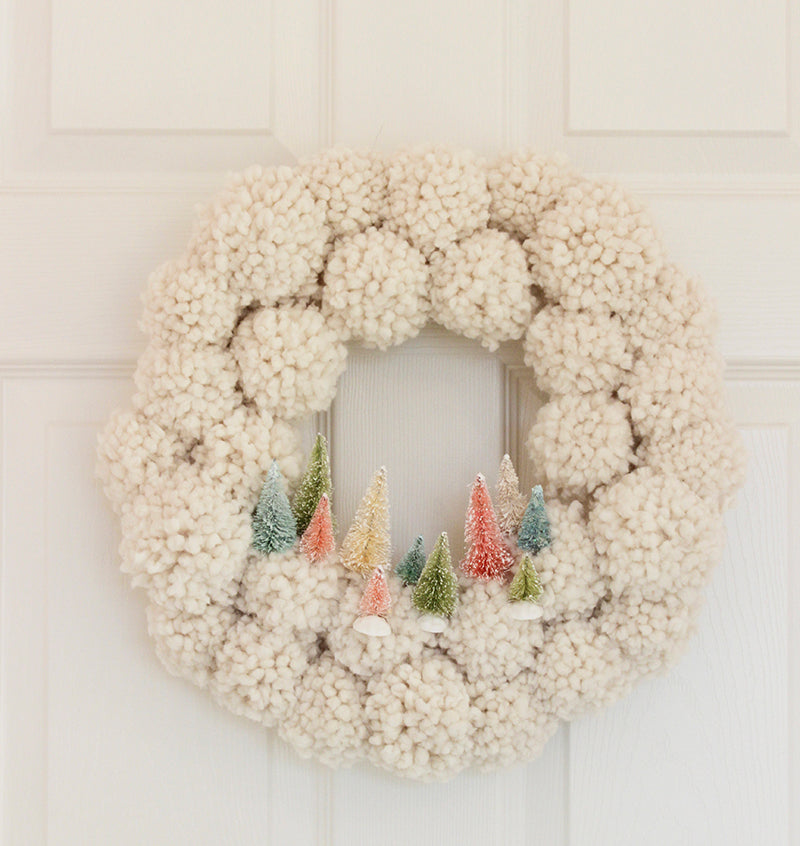 DIY Pom Pom Wreath with Bottle Brush Trees