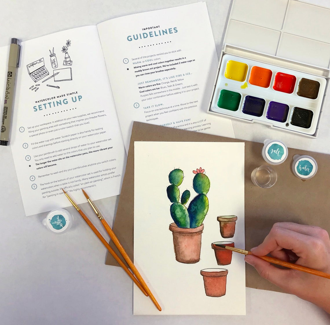 DIY Watercolor Kit for Beginners - Instruction Book & Supplies - Wildflower Art Studio Workshop-in-a-Box • For Kids, Teens, Adults