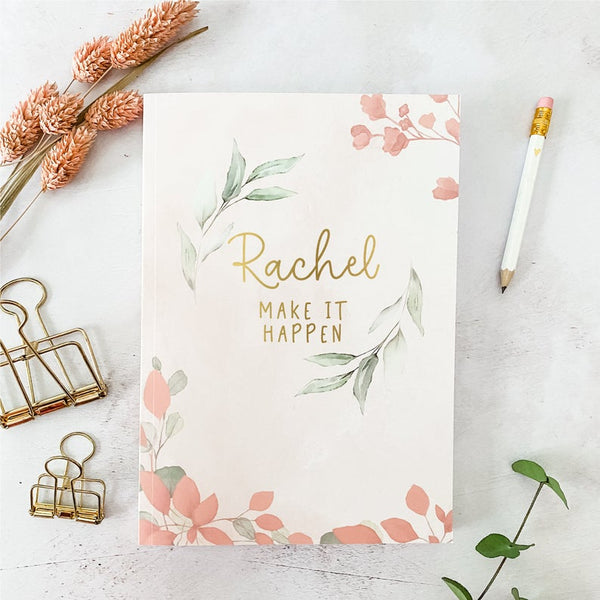 Daily Planner Personalised Book - A5 Undated Weekly & Daily Organiser - Blush Leaf - Birthday Gift for Her - Personalized Planner Notebook