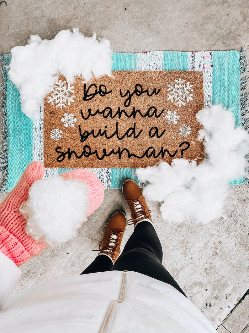 Do You Wanna Build a Snowman Snowflake Holiday Doormat, Bloom Into Beautiful Holiday Welcome Mat, Front Porch Holiday Decor