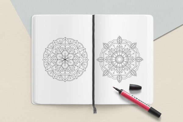 "Easy Mandala Coloring Book PDF, 20 Pages, 8.5 "" x 11"", Printable Digital Hand Drawn Coloring Pages, Stress relief and relaxation Pages"