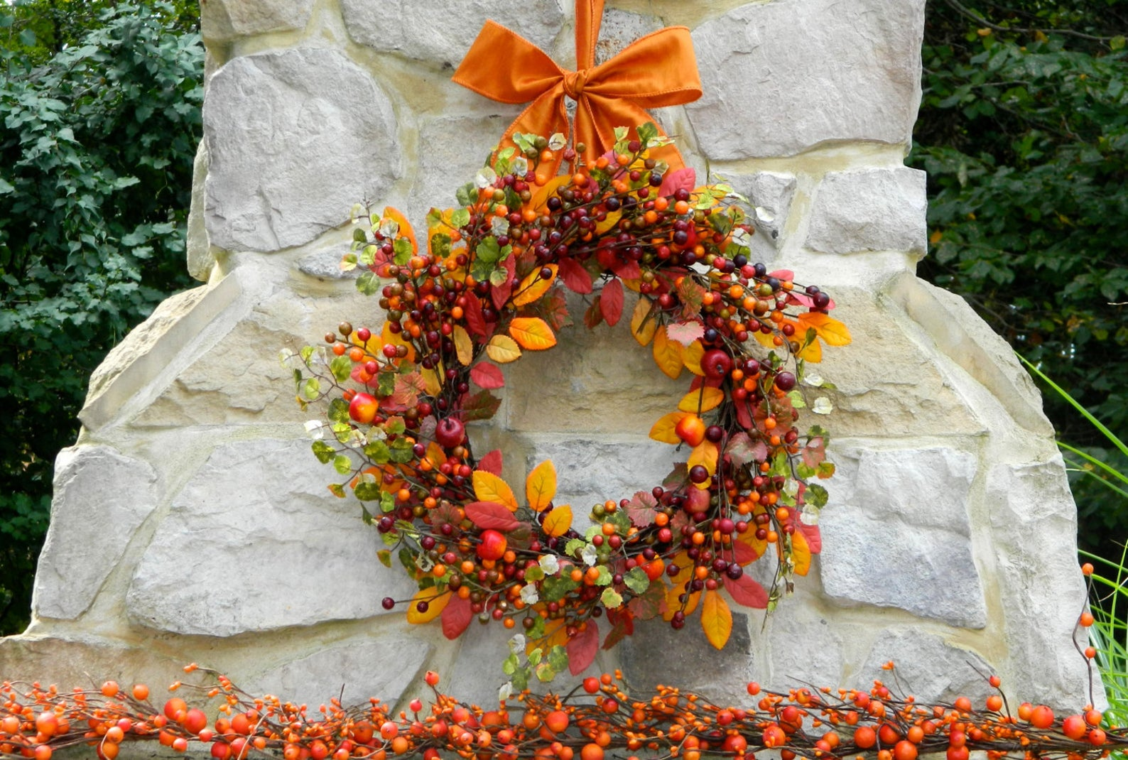 Fall Berry Wreath - Fall Foliage Wreath - Fall Leaves Wreath - Autumn Wreath