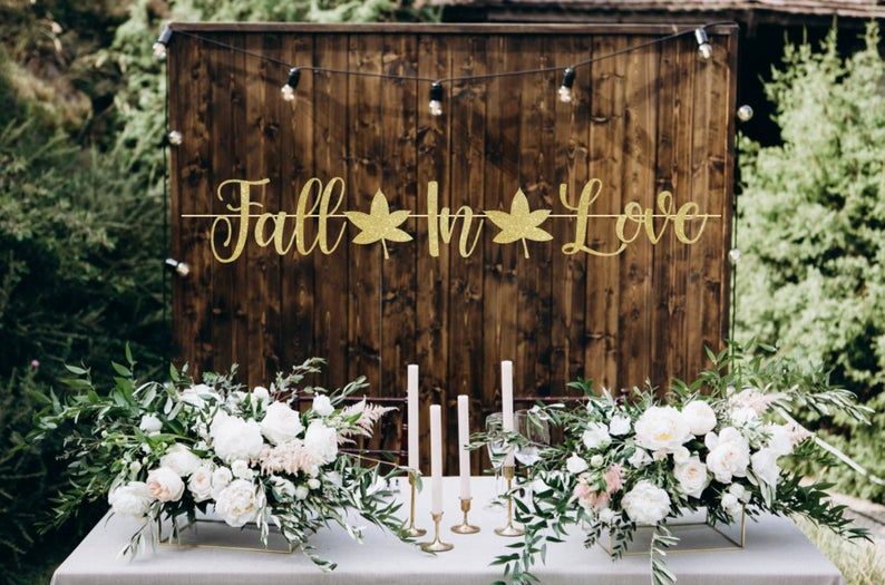 Fall In Love Banner, Engagement Banner, Bridal Shower Banner, Fall Wedding, Glitter Fall Sign, Fall In Love Decorations