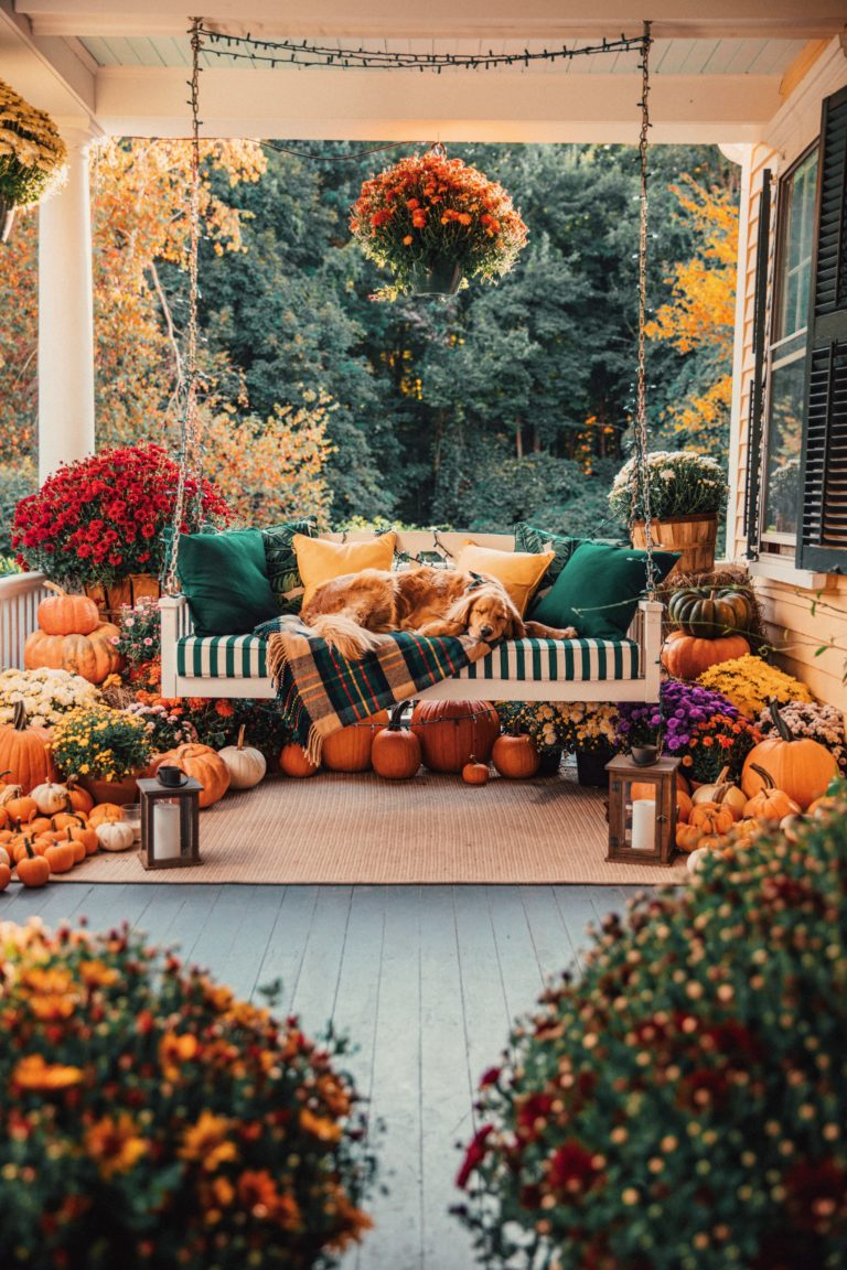 Fall Patio Decor - DIY Fall Patio - Fall Porch Decor - Fall Home