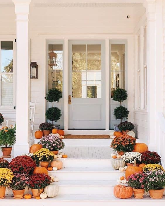 Fall Patio Decor - Mums on the Porch - Mums Fall Decor - Fall Home - Pretty Collected
