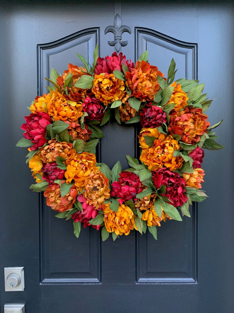 Fall Wreath - Best Fall Wreaths - Orange and Red Wreath - Door Wreath - Fall Decor - Pretty Collected