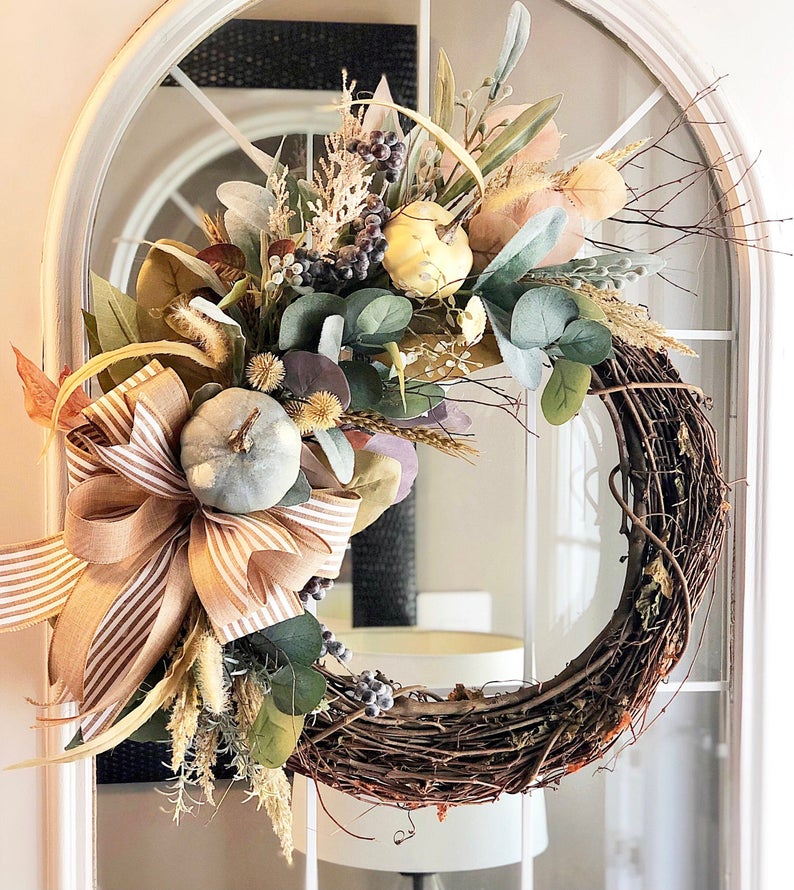 Fall Wreath with Pastel Pumpkins and Eucalyptus Welcome Front Door Farmhouse Cottage Gift