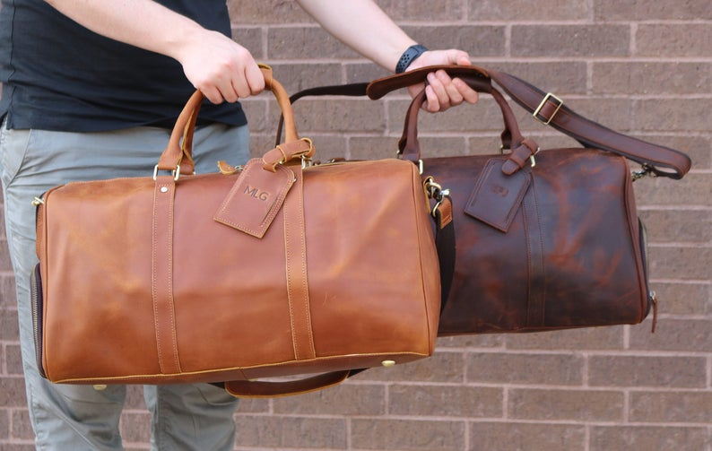 Fathers Day Gift for Dad,Graduation Gift,Leather Duffle Bag,Mens Leather Weekend Bag,Perspnalized Duffel Bag,Leather Gym Bag,Gift For Him