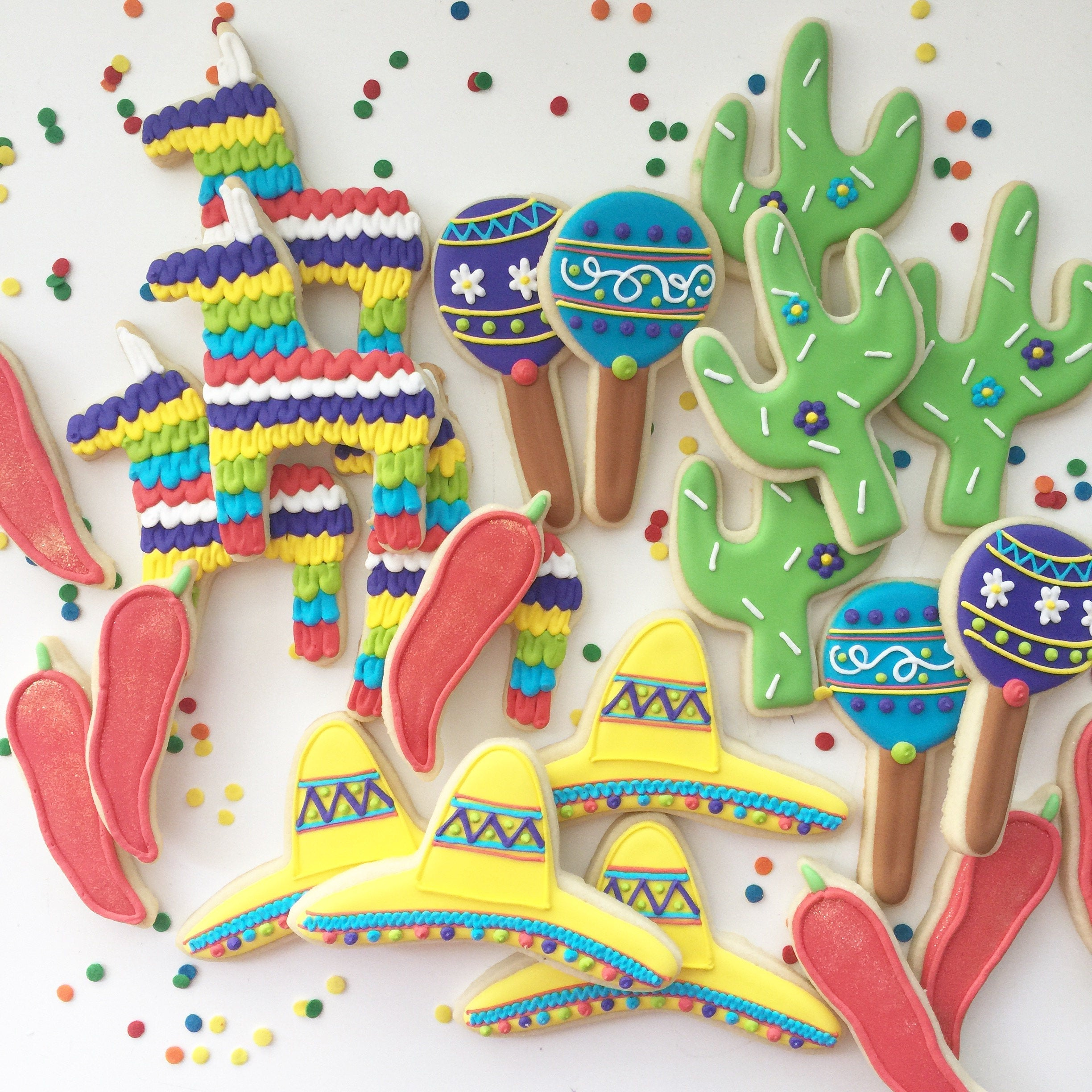 Fiesta Cookies - Fiesta Bridal Shower Decorations - Dessert Table Cookies - Fiesta Party Decor