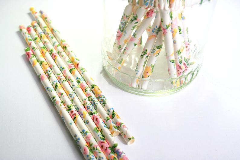 Floral Party Straws - Floral Print Straws - Floral Theme Party - Wedding Straws - Wedding and Shower Decor - Engagement Straws -Garden Party