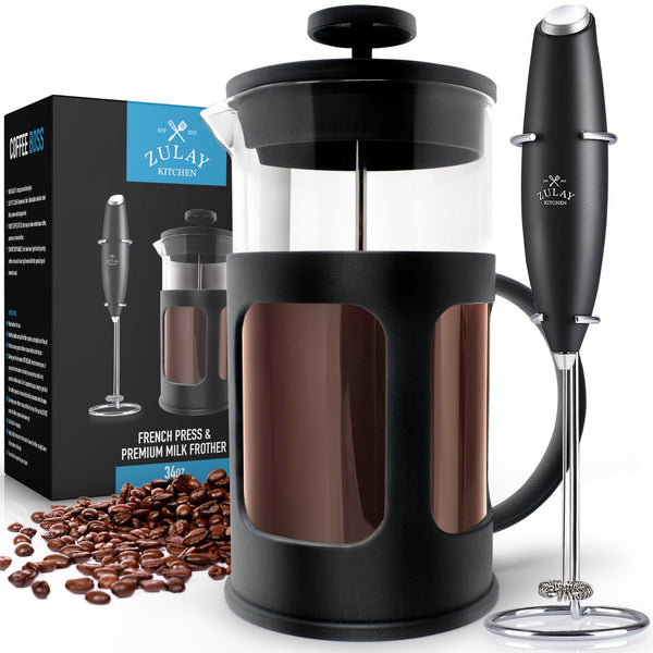 French Press Coffee Pot and Milk Frother Set