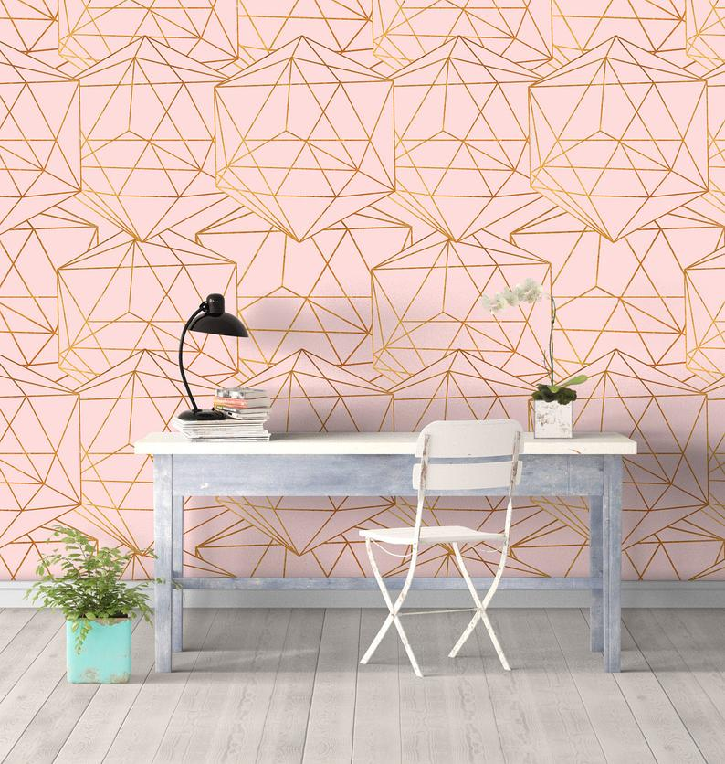 Geometric Glam Wall Covering Art Removable Self-Adhesive Wallpaper