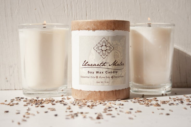 Ginger Lemongrass Soy Natural Wooden Wick Candle 8 oz. - Refreshing Ginger and Lemongrass Essential Oils