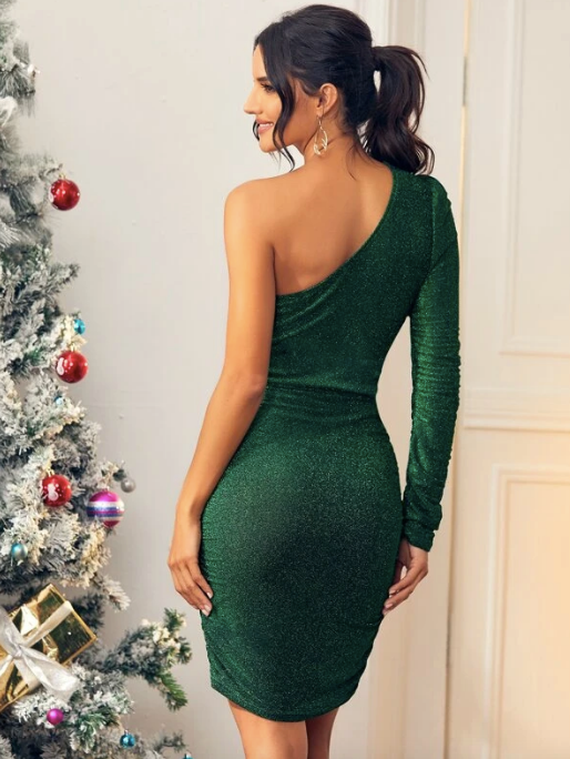 Glitter One Shoulder Tie Front Bodycon Dress - Christmas Dress - Fancy Dress