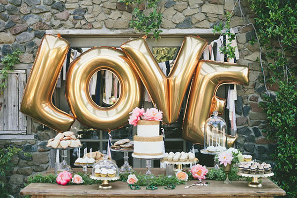 Gold LOVE Balloons - Large