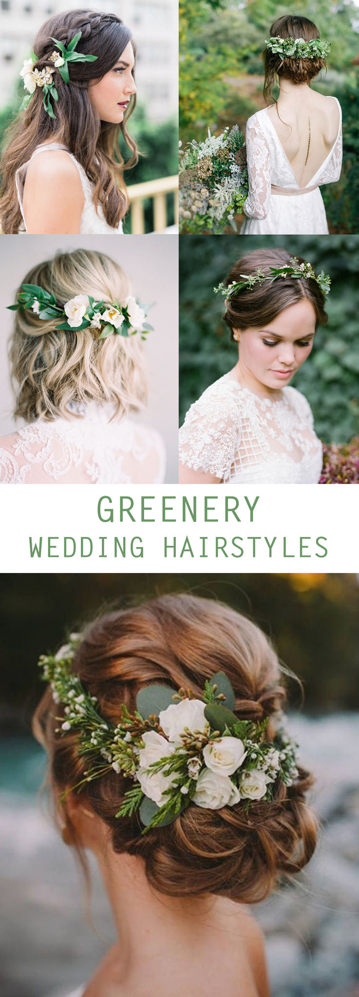 Greenery Wedding Hairstyles - Wedding Flower Crown - Pretty Collected