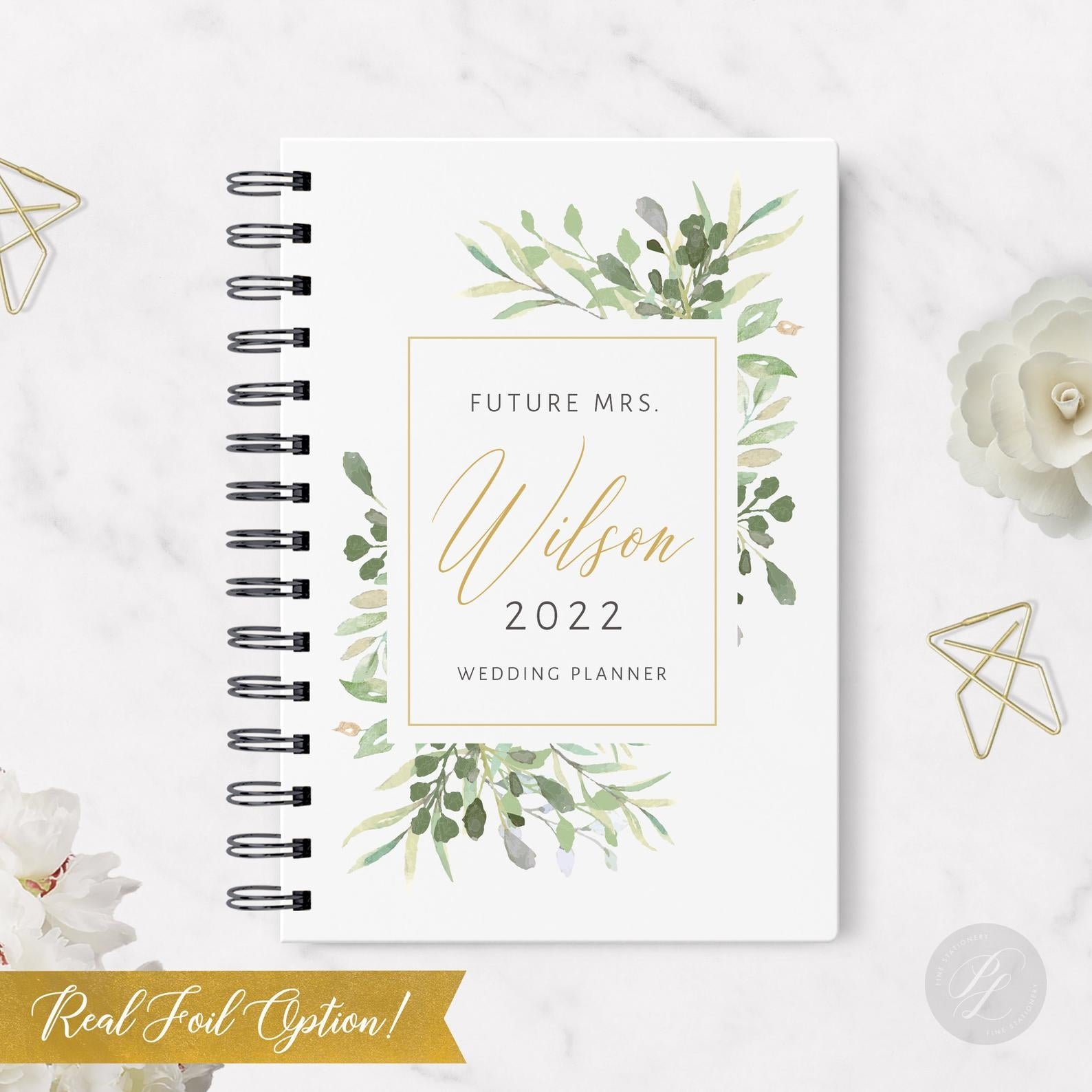 Greenery Wedding Planner - Rustic Wedding Planner - Gold Foil Wedding Planner