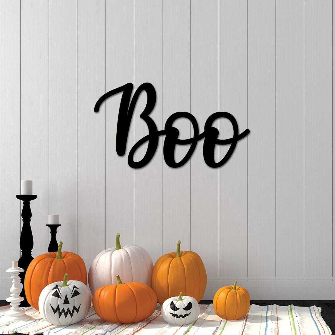 Halloween Boo Sign / Boo Metal Word / Halloween Decor / Boo Sign for Front Door / Farmhouse Halloween Sign / Halloween Decorations