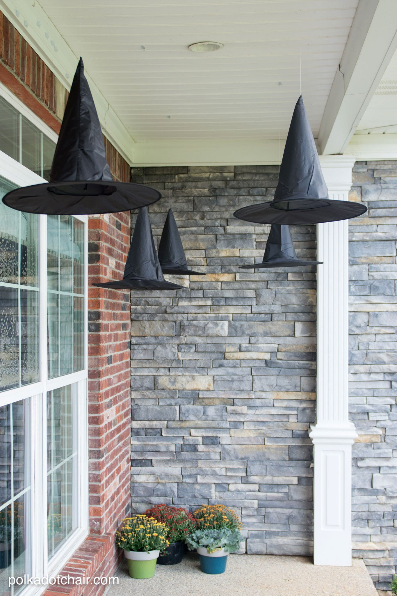 DIY Hanging Witch Hats for Halloween Decor