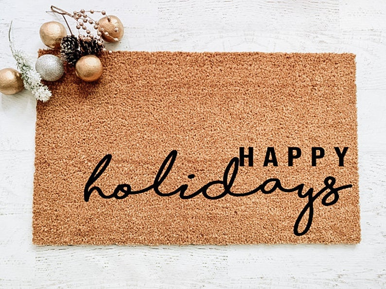 Happy Holidays, Doormat, Welcome Mat, Christmas Doormat, Christmas Decor, Holiday Doormat, Holiday Decor, Gifts for them, Under 50, Winter