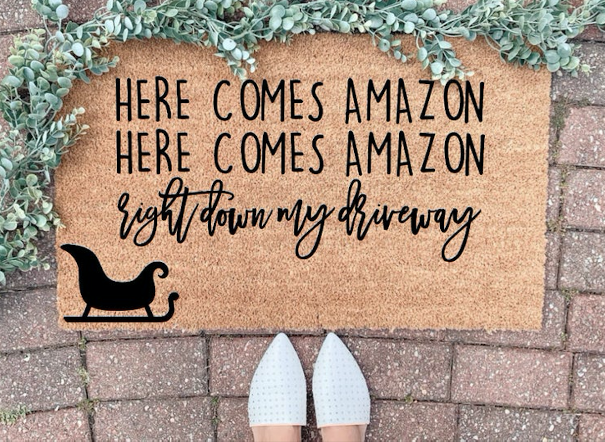 Here Comes Amazon Doormat, Funny Welcome mat, Holiday Door mat, Christmas Decor, Holiday Decoration, Outdoor Decor, Funny Holiday Doormat