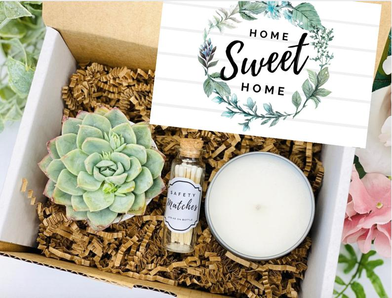House Warming Gifts, New Home Gift, New Home Card, Happy New Home, Home Sweet Home, Succulent Gift Box, Care Package
