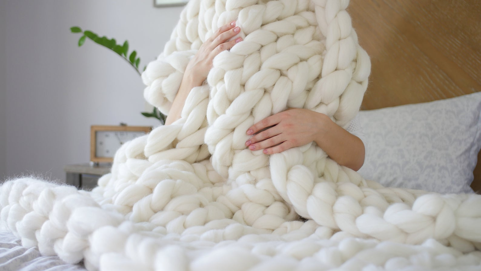 Cream Cable Knit Blanket - Chunky Knit Blanket - Fall Blankets