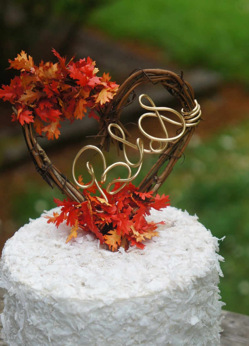 Leaves Fall Cake Topper In your Initials